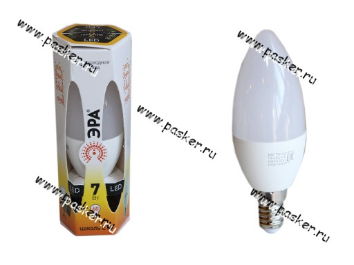 Лампа светодиодная ЭРА LED smd B35-7w-827-E14 мягкий желтый свет