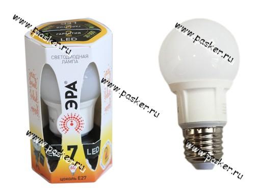 Лампа светодиодная ЭРА LED smd A60/55-7w-827-E27 NEW мягкий желтый свет