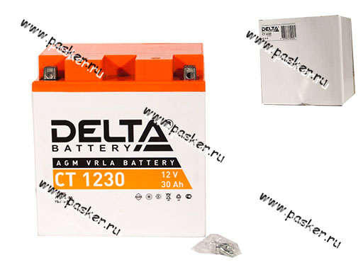 Аккумулятор DELTA MOTO CT 1230 166/126/175 166x126x175 обр/п с/эл YTX30L YTX30L-BS YB30L-B