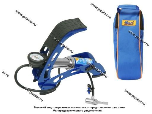 Насос ножной с манометром (1 цилиндр) в сумке KRAFT 810001