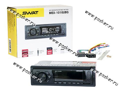 Автомагнитола SWAT SD/MP3/USB 4х50Вт MEX-1016UBG зеленые кнопки