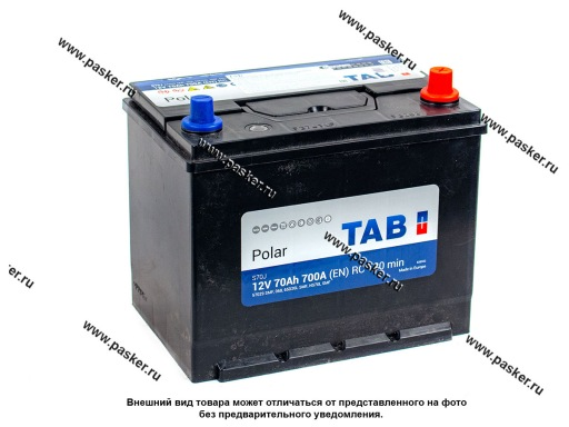 Аккумулятор TAB Polar 70.0 Ач EN700 ASIA 270х180х220 обр/п 57029
