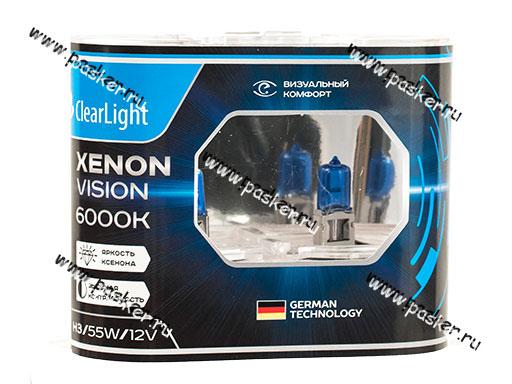 Лампа галоген 12V H3 55W Pk22s ClearLight XenonVision MLH3XV 6000К