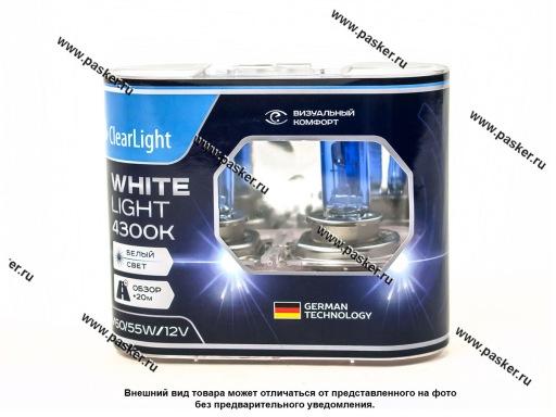 Лампа галоген 12V H4 60/55W P43t ClearLight WhiteLight MLH4WL 4300К