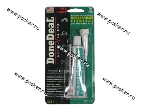 Герметик DoneDeal 6703 42,5гр для стекол силиконовый прозрачный