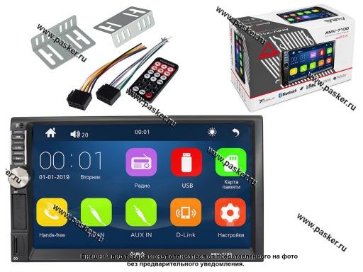 Автомагнитола 2DIN AURA AVресивер 7 WinCE FM/USB/AUX/MicroSD/ДУ мультицвет AMV-7100