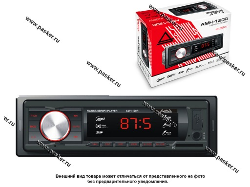 Автомагнитола AURA USB-ресивер 4х36W USB/SD/FM/AUX/1RCA iD3-TAG красная подсветка AMH-120R