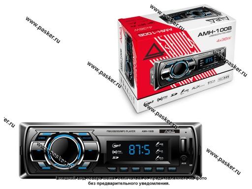 Автомагнитола AURA USB-ресивер 4х36W USB/SD/FM/AUX/1RCA,синяя подсветка AMH-100B