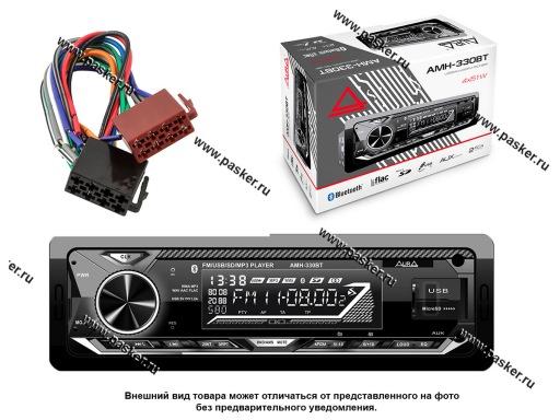 Автомагнитола AURA USB/MicroSD/FM-ресивер с BT 4х51W 2RCA ID3 тэги подсветка белая AMH-330BT