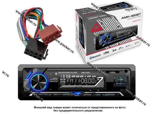 Автомагнитола AURA USB/MicroSD/FM-ресивер с BT 4х51W 2RCA ID3 тэги подсветка синяя AMH-320BT