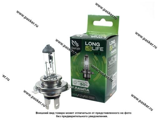 Лампа галоген 12V H4 60/55W P14.5s ClearLight LongLife +50%