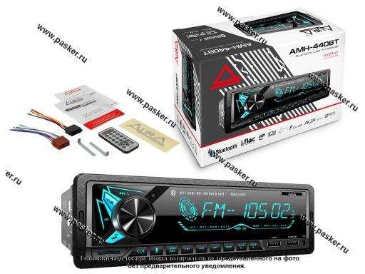 Автомагнитола AURA USB/MicroSD/FM/Bluetooth 4х51W 2RCA ID3 тэги подсветка голубая AMH-440BT