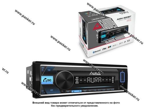 Автомагнитола AURA USB/MicroSD/FM/Bluetooth 4х51W 2RCA ID3 тэги подсветка голубая AMH-520BT