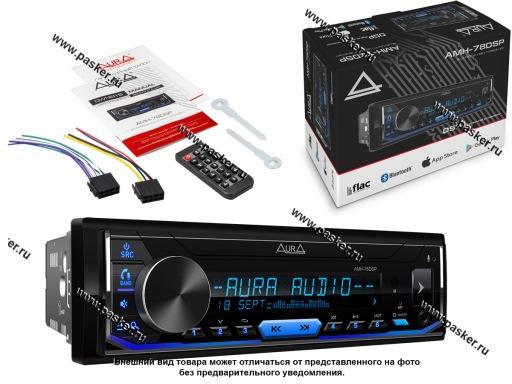 Автомагнитола AURA USB/MicroSD/FM/Bluetooth 4х51W 2RCA ID3 тэги подсветка голубая AMH-78DSP