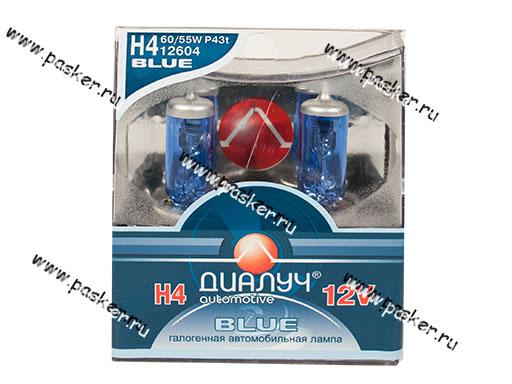 Лампа галоген 12V H4 60/55W P43t ДиаЛуч Blue 2шт