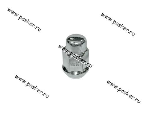 Гайка колесного болта М12х1,25 кл19 ВАЗ 2121 213 ОКА на литые диски хром глух с буртиком