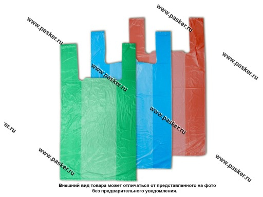 Пакет майка ПНД 24+12х44 см 8мкм цветные 100шт