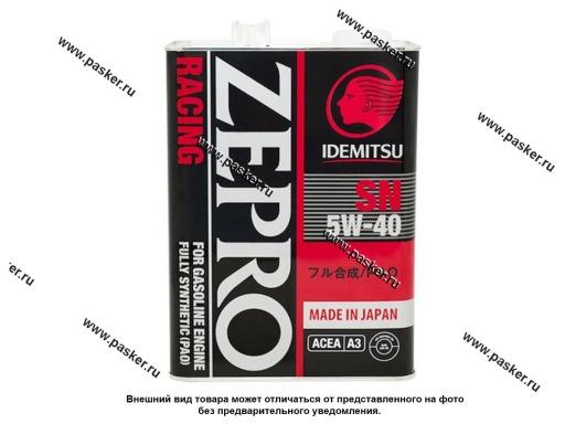 Масло IDEMITSU  5W40 Zepro Racing SN ACEA A3 4л син