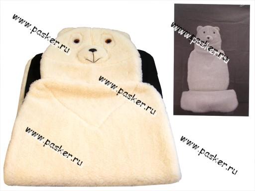 Накидка на сиденье меховая Мишка белый натуральная шерсть