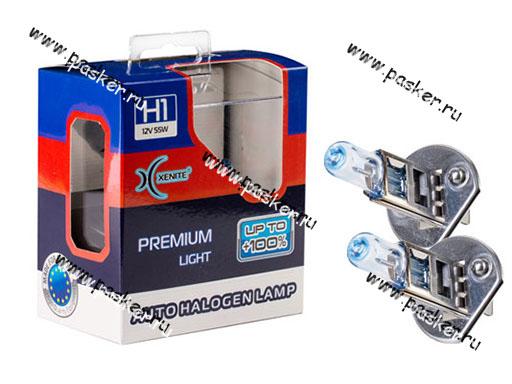 Лампа галоген 12V H1 55W P14.5s Xenite Premium +100% яркости