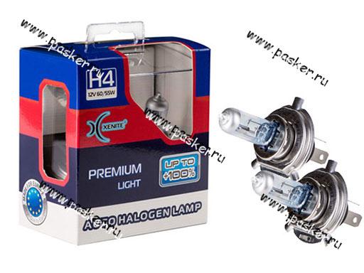 Лампа галоген 12V H4 60/55W P43t Xenite Premium +100% яркости