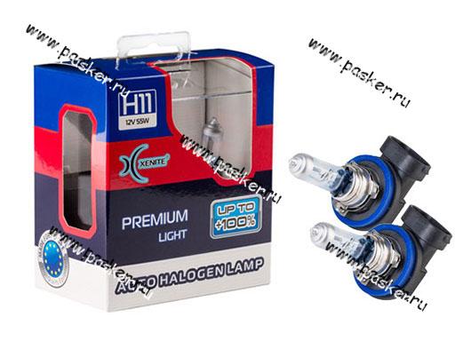 Лампа галоген 12V H11 55W PGJ19-2 Xenite Premium +100% яркости