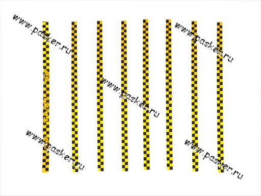 Наклейка - молдинг Такси №1 4х100см 8 полосок желтая
