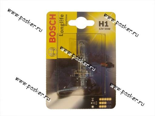 Лампа галоген 12V H1 55W P14.5s BOSCH Long Life Daytime 051