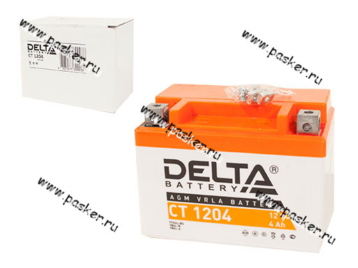 Аккумулятор DELTA MOTO CT 1204 113х70х89 обр/п с/эл YT4L-BS