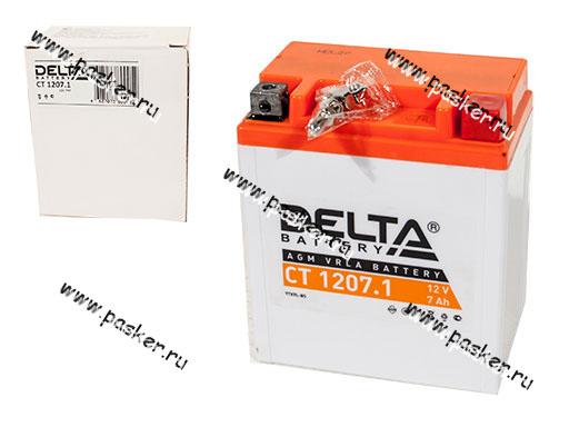 Аккумулятор DELTA MOTO CT 1207,1 114x71x131 обр/п с/эл YTX7L-BS