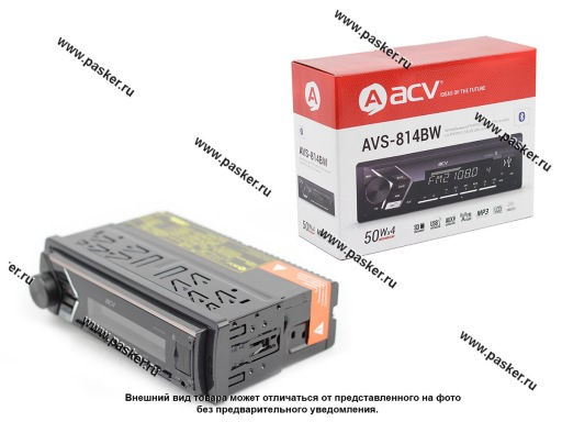 Автомагнитола ACV FM/MP3/USB/SD Bluetooth белая подсветка несъемная панель AVS-814BW